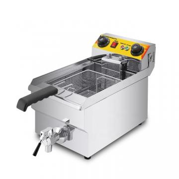 Single Compartment Stainless Steel Deep Fryer with Oil Filter System Commercial Use